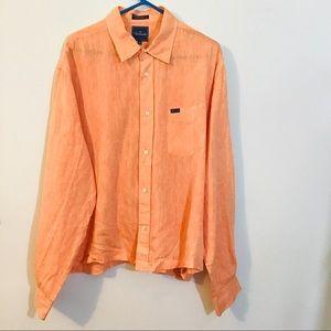 Falconable Peach Linen Buttton Down Shirt